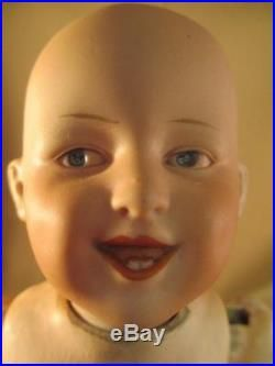 Antique German Bisque Doll Laughing Painted Eye Open/Closed Mouth All Original