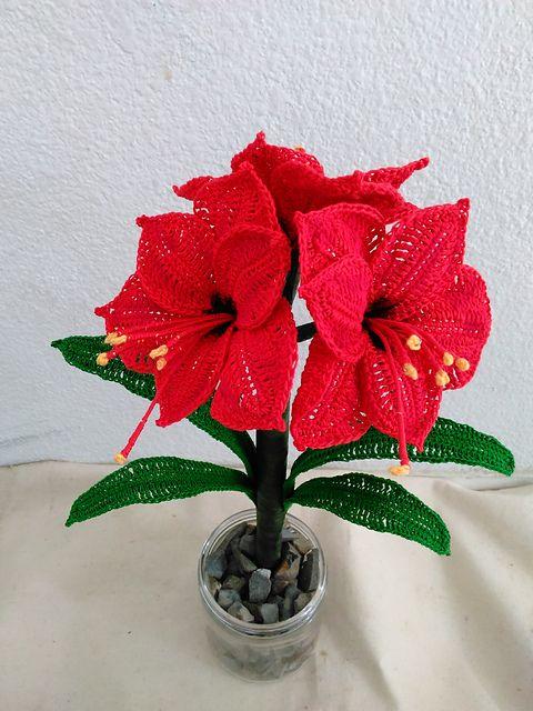 Amaryllis Flower Amaryllis Flowers Crochet Flowers Crochet Flower Tutorial
