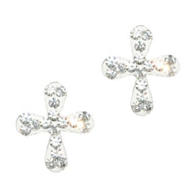 Crystal Cross Earrings Sterling Silver - jcpenney for grandma