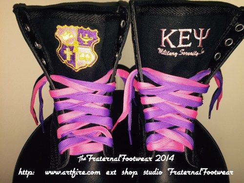 Key sorority Boots custom embroidery with front and side design