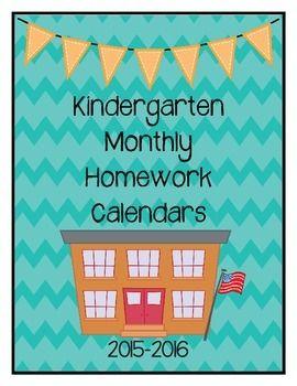 Homework calendar for kindergarten