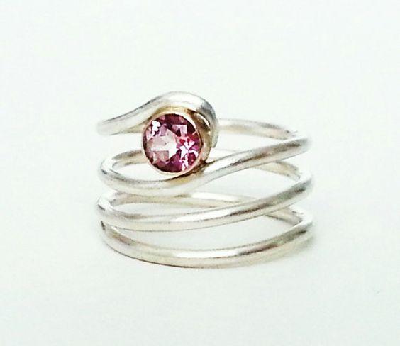 Pink Tourmaline Gemstone Ring with 14 Karat by RebeccaGeoffrey, $125.00