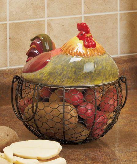 Details about farm rooster chicken hen wire food storage for Chicken kitchen decorating ideas
