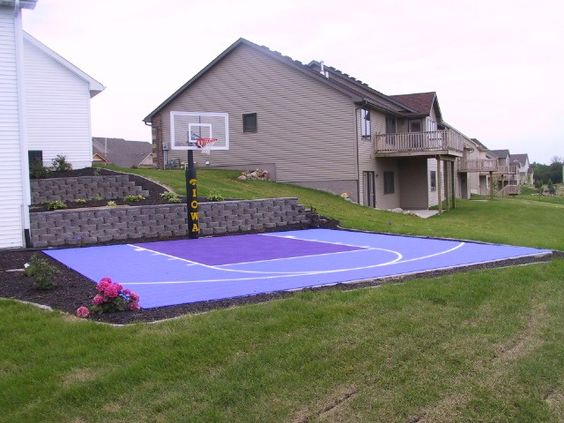 Backyards yards and awesome on pinterest for Small basketball court