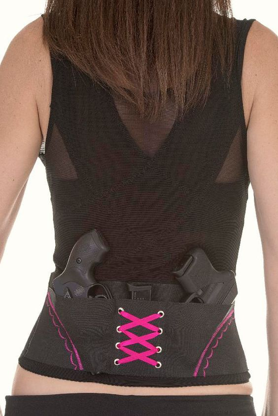 Pink On Black Concealed Carry Corset Holster by CanCanConcealment, $79.99