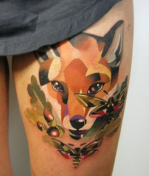 Fox Tattoo by Sasha Unisex. Awesome style, haven't seen anything like it before!