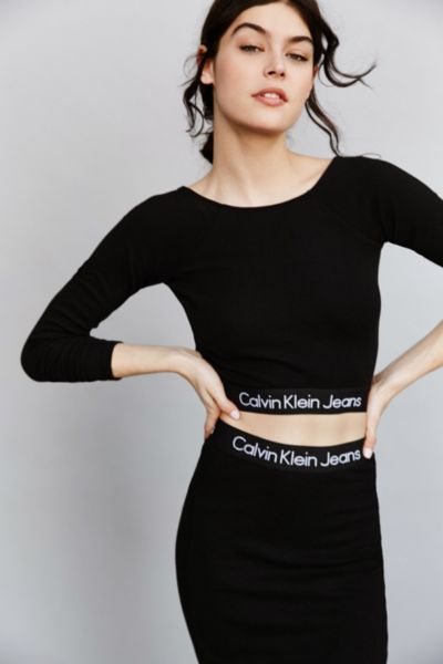 calvin klein for uo long sleeve cropped top urban. Black Bedroom Furniture Sets. Home Design Ideas