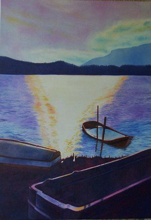 Artwork >> Aimetti Sylvain >> Sainte helene #artwork, #masterpiece, #oil, #painting, #canvas, #lake, #boats, #sky, #sunset