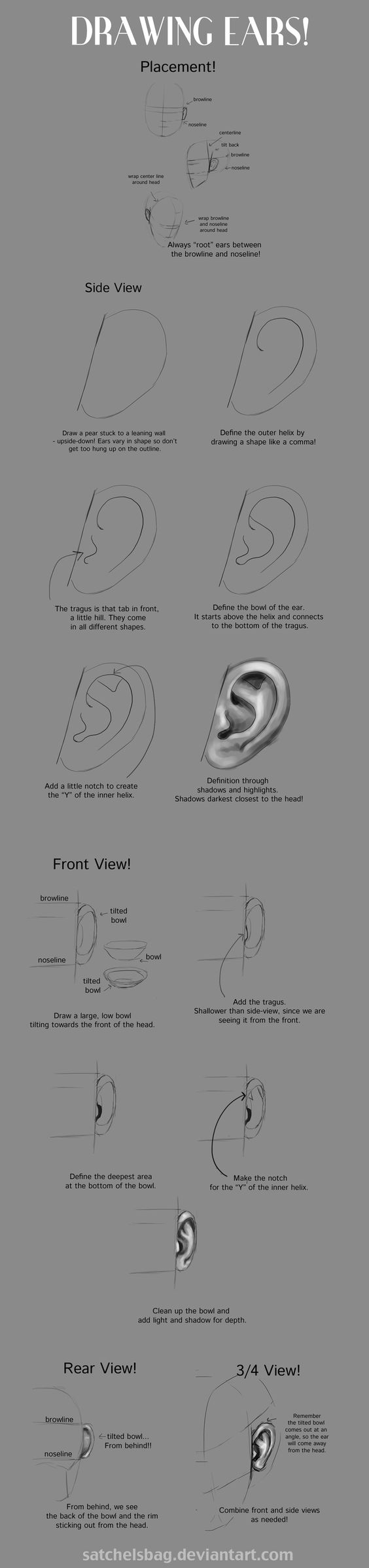 Drawing Ears Tutorial by DianetheKraus.deviantart.com on @deviantART