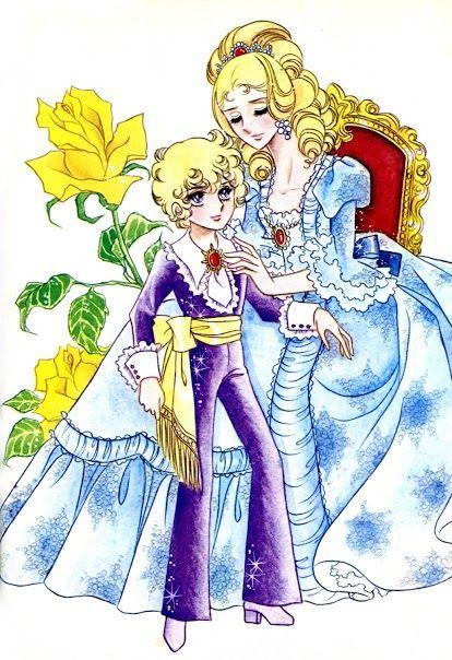 黄色いバラと子供とマリー・アントワネットのベルサイユのばらの壁紙