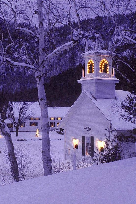 snowy church and xmas - photo #2