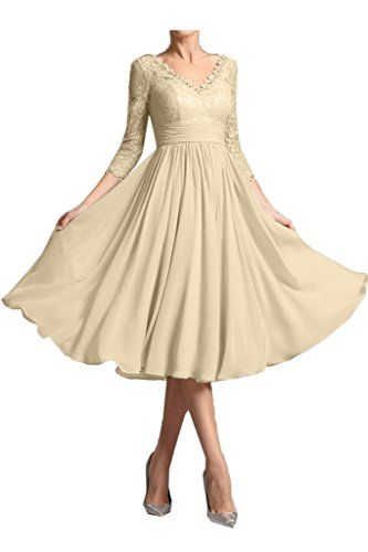 Sunvary Mild Mother Of The Bride Dress V Neck 3/4 Sleeve Lace Sheath 2017 Size 12- Champagne