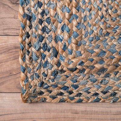 Mistana Destrie Hand Braided Cotton Jute Blue Beige Area Rug Wayfair In 2020 Rag Rugs Colorful