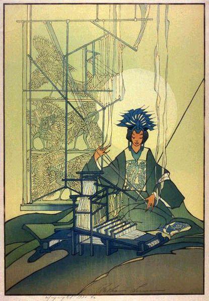 hanga gallery . . . torii gallery: Spinning Goddess by Bertha Lum