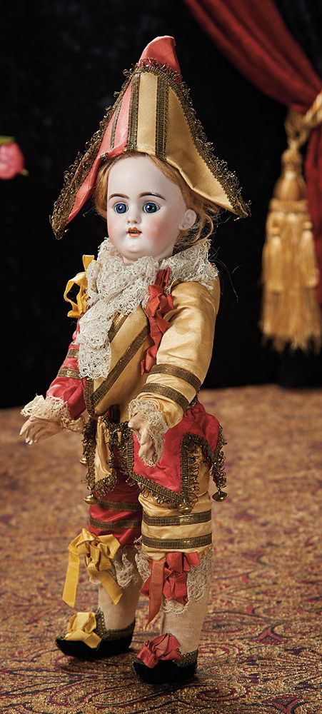 French Bisque Doll as Polichinelle with Superb Original Costume. Lot # 88.