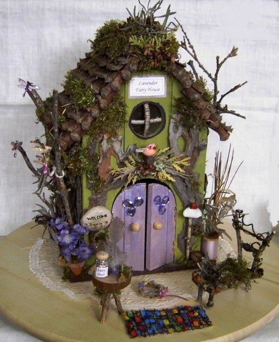 Fairy Garden Miniature Doll LAVENDER Flower WOOD FAIRY HOUSE Natural Hand Made