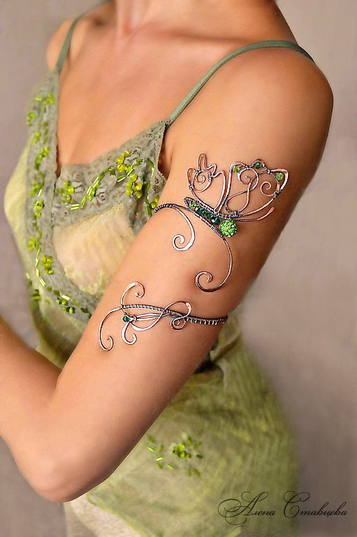 """Upper arm bracelet  """"""""Butterfly"""", Jewelry, arm bracelet, green, Copper, arm cuff, armlet, Upper Arm Cuff"""