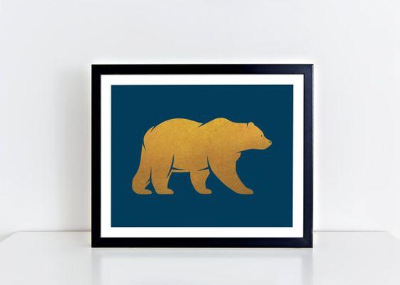 Gold Bear Print, Playroom Printable, Bear Poster, Blue Nursery Decor, Modern Art Print, Blue Print, Gold Animal Print, Instant Download