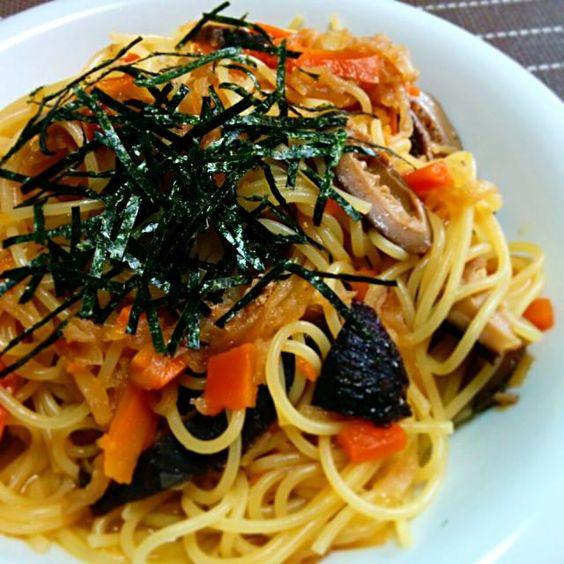 今日のお昼ごはんです 切り干し大根に昆布顆粒出汁、オリーブオイル、とうがらし、きざみのり - 19件のもぐもぐ - 切り干し大根でパスタ by yoshino