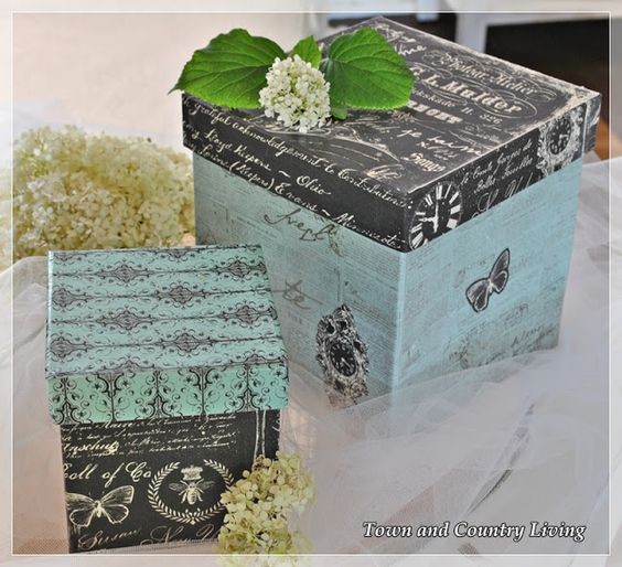 Turn plain brown papier mache boxes into something pretty with a little Mod Podge and decorative scrapbook paper