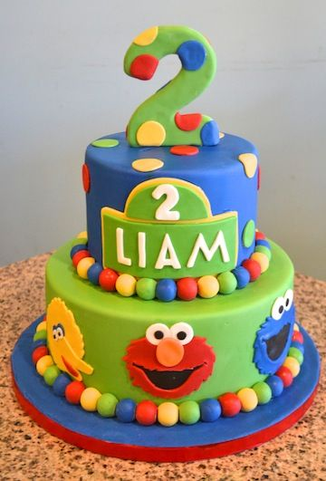 Sesame Street Birthday Cake Featuring Big Bird Elmo And Cookie