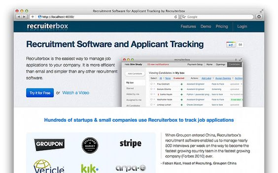 Online Recruitment Software \ Applicant Tracking System for small - groupon resume