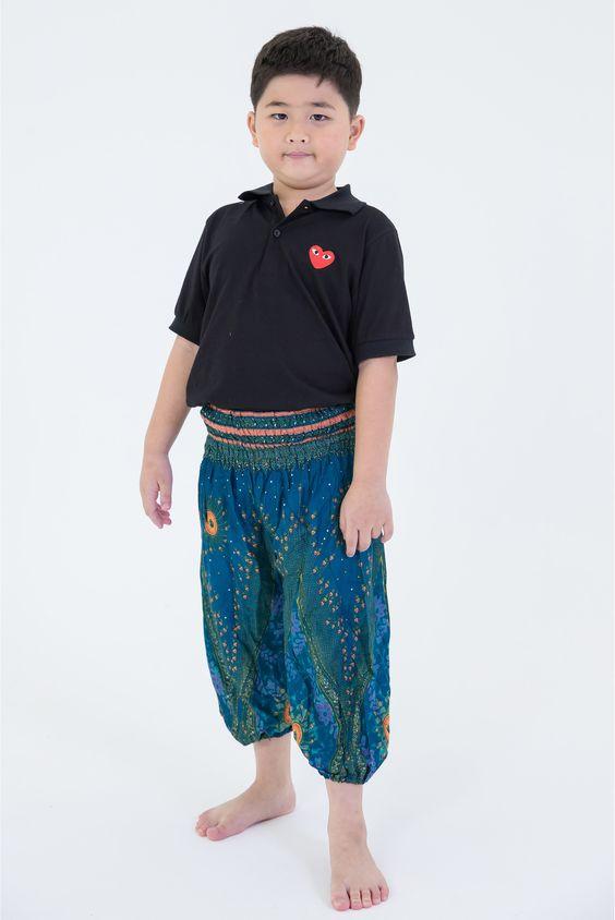 Peacock Eye Kids Harem Pants in Turquoise