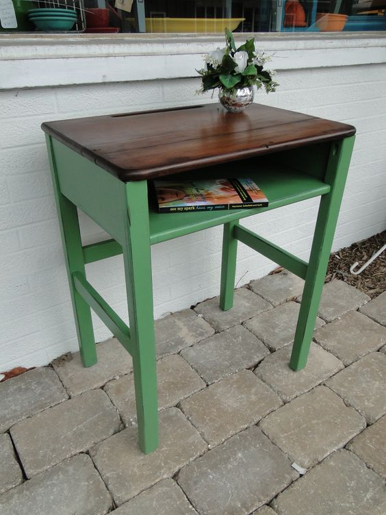 Old Wooden School Desk In Green Ith Darker Stained Top