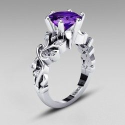 Vintage Leaf Design Lab-created Amethyst Ring 925 Sterling Silver