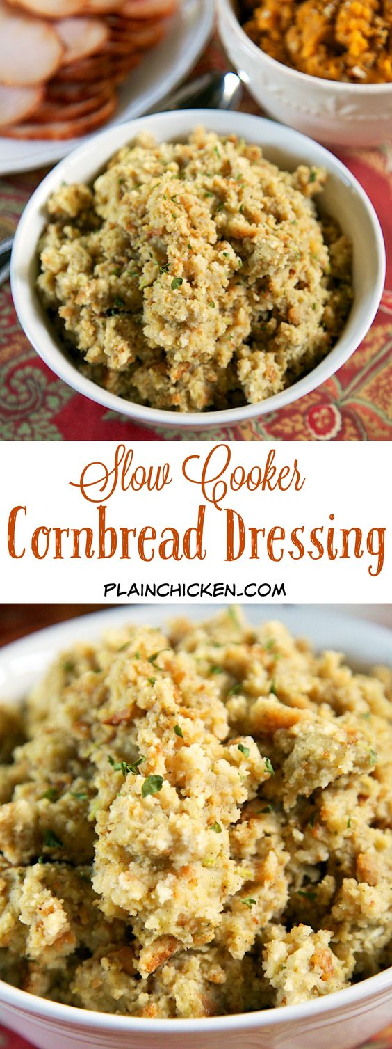 {Slow Cooker} Cornbread Dressing - delicious southern cornbread dressing made in the slow cooker. Make the cornbread ahead of time for easy meal prep. Takes minutes to assemble and is ready in about 4 hours. Perfect side dish for your Thanksgiving meal!