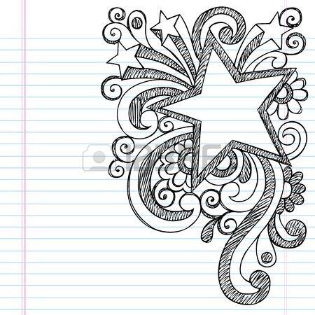 Star Frame Border Back to School Sketchy Notebook Doodles- Vector Illustration Design on Lined Sketchbook Paper Background photo