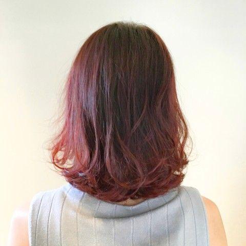 ピンクレッドカラー 画像あり ヘアスタイリング ヘアスタイル