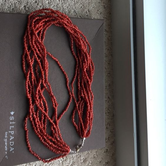 Silpada bead necklace Silpado coral bead necklace. Never worn. Silpada Jewelry Necklaces