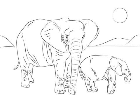 Afrikanische Elefantenfamilie Ausmalbild