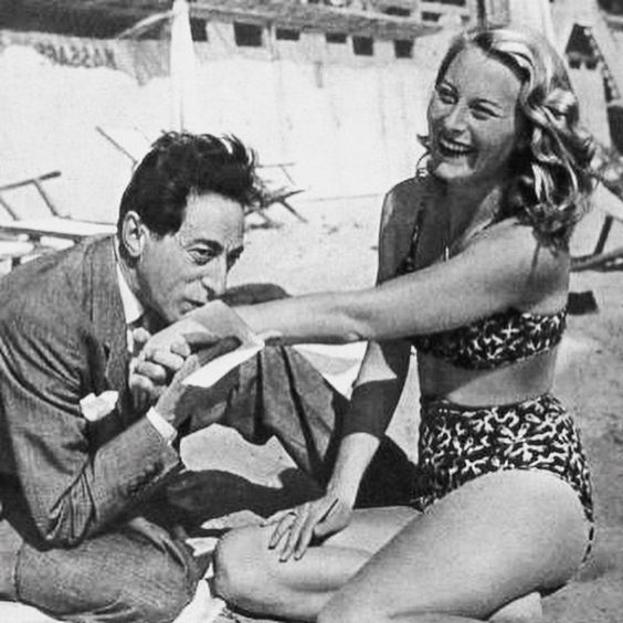 Jean Cocteau and Michele Morgan at Cannes 1946
