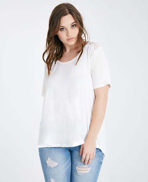 <p>This cute tee features a soft and stretchy knit body, a floral lace back yoke, an open tulip back, and a flowy, relaxed fit.</p>  <p>Model wears a size 1X.</p>  <ul> <li>Scoop Neckline</li> <li>Short Sleeves</li> <li>Unlined</li> <li>Polyester / Spandex / Nylon</li> <li>Hand Wash</li> <li>Imported</li> </ul>