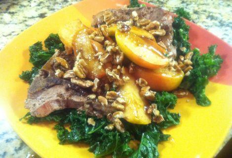 "Fast Paleo » ""Caramel"" Apple Pecan Pork Chops over Creamed Coconut Kale - Paleo Recipe Sharing Site"