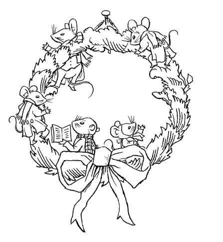 Plain Christmas Wreath Coloring Page coloring pages on pinterest dover ...