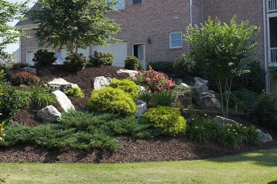 Landscaping ideas driveways and back yard on pinterest for Berm garden designs