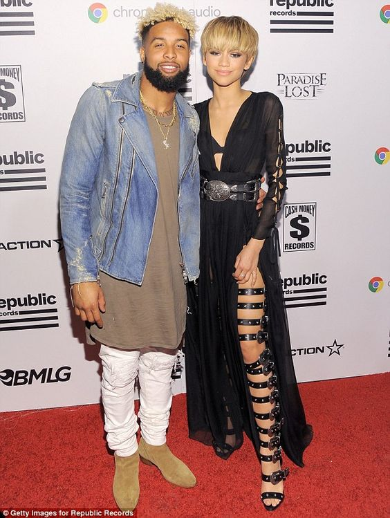 So close: Zendaya cuddled up to Odell Beckham Jr. on the red carpet at Universal Music Gro...