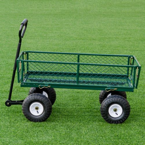 Heavy Duty Steel Lawn Garden Utility Cart Wagon Yard Landscape Tractor Trailer Ebay Lawn And Garden Utility Cart Yard Landscaping