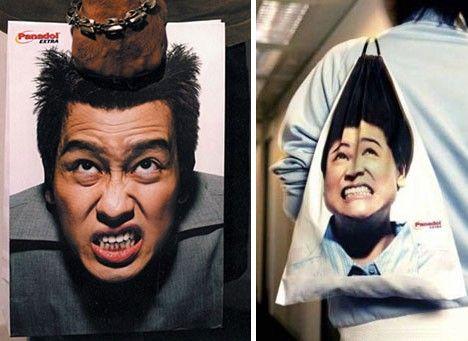 頭痛の苦悶する表情を再現した頭痛薬のショップバッグ