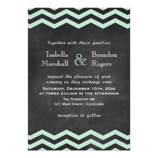 Chevrons on Chalkboard Wedding Invitation in Mint