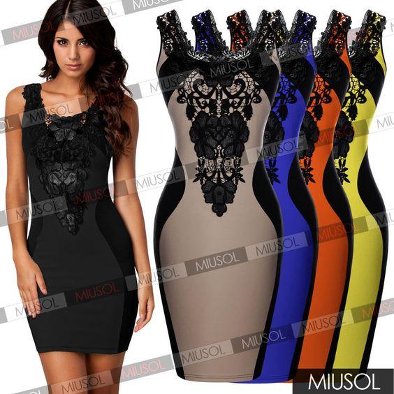 Sexy Women Lace Sleeveless Slim Fashion Bodycon Party Cocktail Evening Dress   eBay