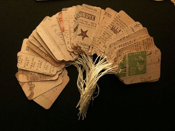 50 double sided vintage looking tags hand made from by LeDulceVita, $4.99