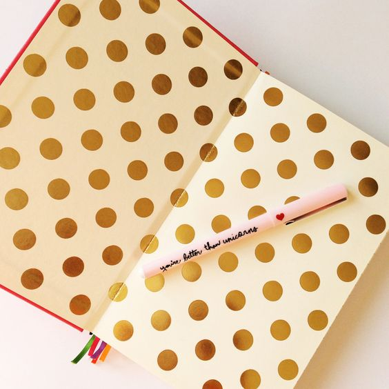 Endpaper goals. Gorgeous gold metallic spots in my Kate Spade hardback notebook.