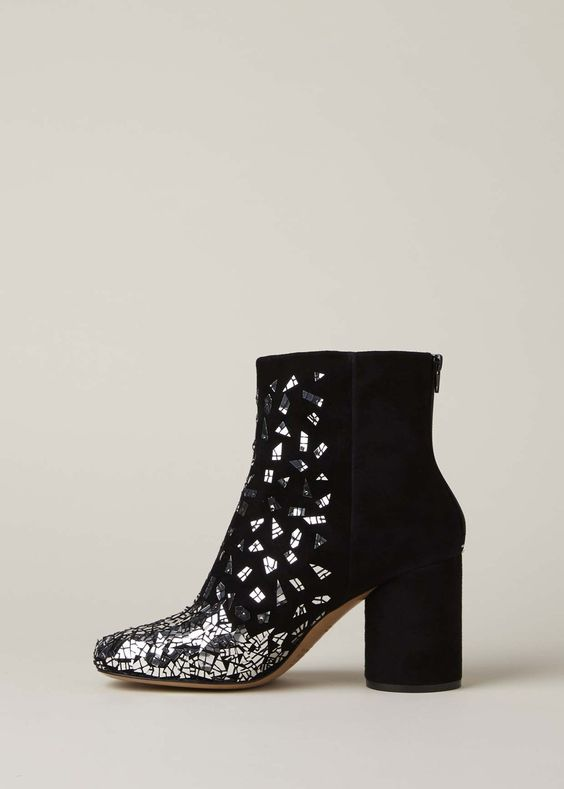 Maison Margiela Limited Edition Broken Mirrors Ankle Boot (Black/Silver)