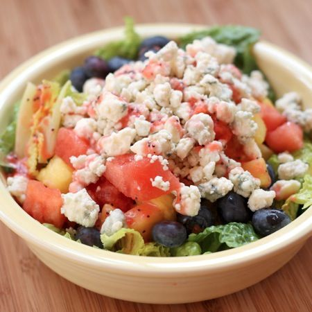 Summer Fruit & Blue Cheese Salad with Strawberry Lime Poppyseed Vinaigrette