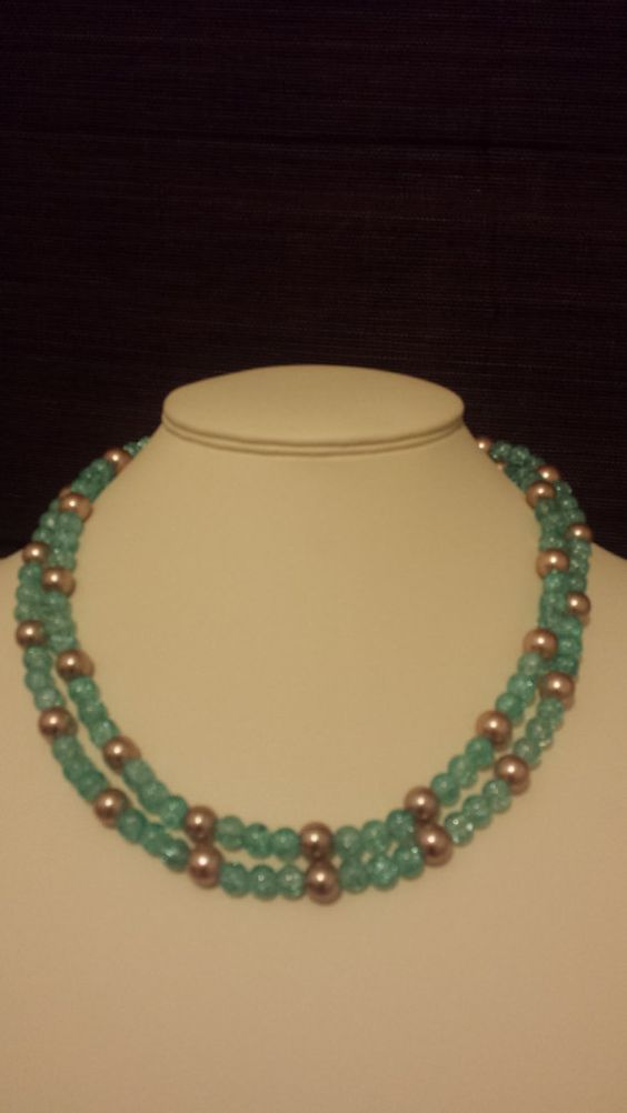 Beautiful light brown pearl and blue crackle glass by VickysBeauty