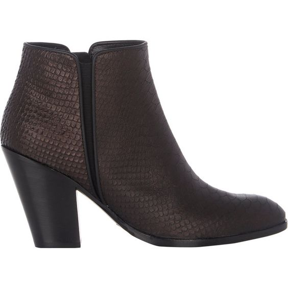 Giuseppe Zanotti Snake-Stamped Ankle Boots (2,790 PEN) ❤ liked on Polyvore featuring shoes, boots, ankle booties, black, leather sole boots, black leather ankle booties, black boots, black ankle boots and short leather boots